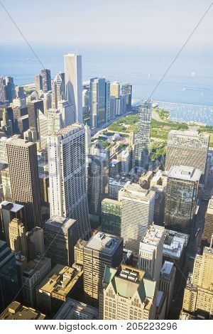 Chicago skyline and lake Michigan. An overhead view of the great city of Chicago downtown taken from the Willis (Sears) Tower. Vertical composition.