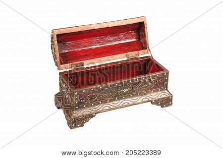 Open casket (chest) on white background. Isolated