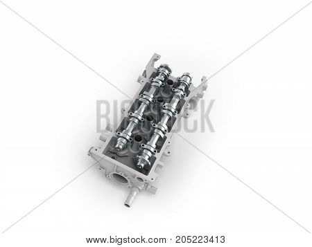 The Head Of The Block Of Cylinders Is Disassembled Perspective 3D Render On A White Background