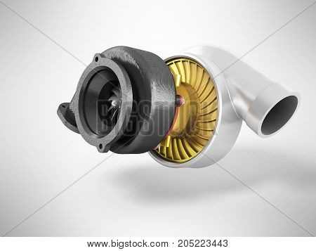 The Turbine To The Machine Is Black Gray Gold 3D Render On Gray Background