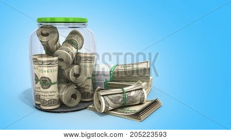 Safe Concept Many 100 Us Dollars Bank Notes In A Glass Jar 3D Render On идгу Background