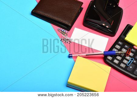 Business And Work Concept: Leather Wallet And Office Tools