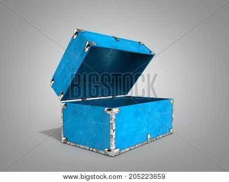 Vintage Blue Hand Safe Box 3D Render On Grey