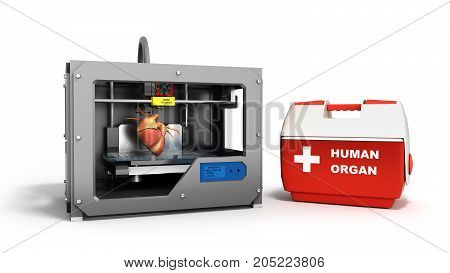 Concept Of Transplantation Process Of Creating Human Hearts Using 3D Printer Illustration Isolated O