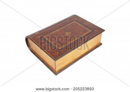 The closed confidential casket in the form of the book on white background. Isolated