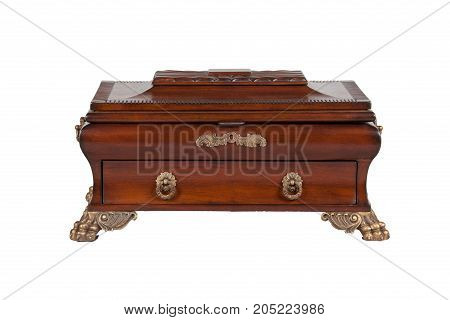 The closed casket on white background. Isolated