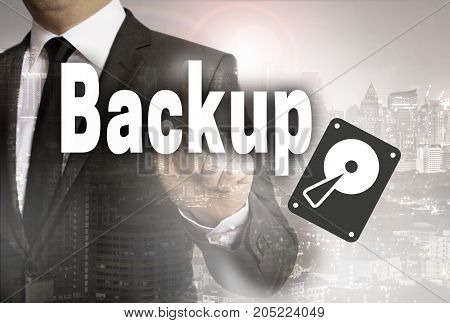 Backup is shown by businessman concept picture
