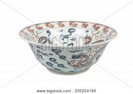 Big painted ceramic vase on white background. Isolated