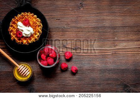 cooking holiday breakfast with wafer top view on wooden background