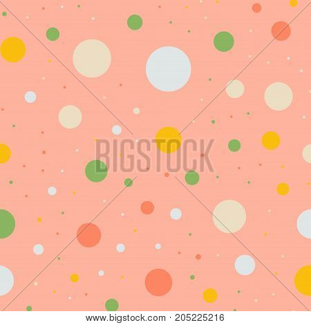 Colorful Polka Dots Seamless Pattern On Bright 5 Background. Splendid Classic Colorful Polka Dots Te