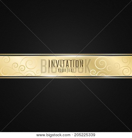 Luxurious invitation to the event. Golden ribbon banner on a black background with a pattern of mesh. Realistic gold strip with an inscription. VIP invitation. Vector illustration