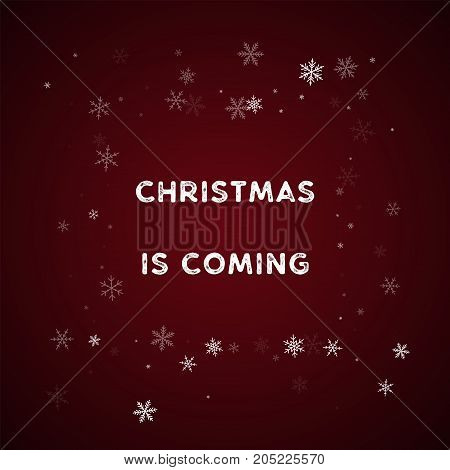 Christmas Is Coming Greeting Card. Sparse Snowfall Background. Sparse Snowfall On Red Background.sup