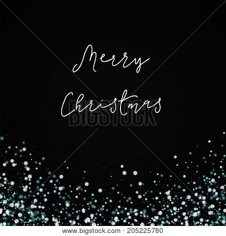 Merry Christmas Greeting Card. Amazing Falling Snow Background. Amazing Falling Snow On Black Backgr
