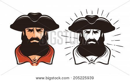 Portrait of bearded man in cocked hat. Cartoon vector illustration isolated on white background
