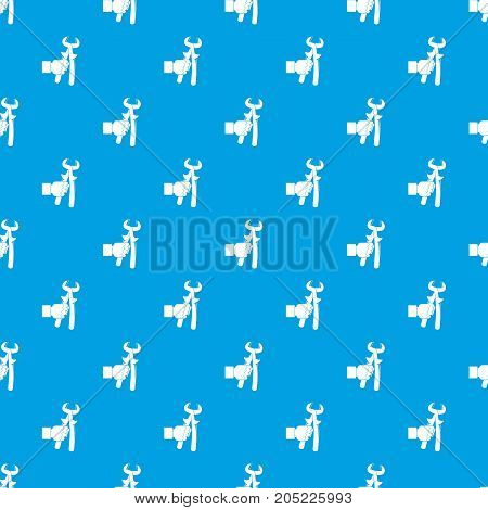 Hand holdimg calipers pattern repeat seamless in blue color for any design. Vector geometric illustration