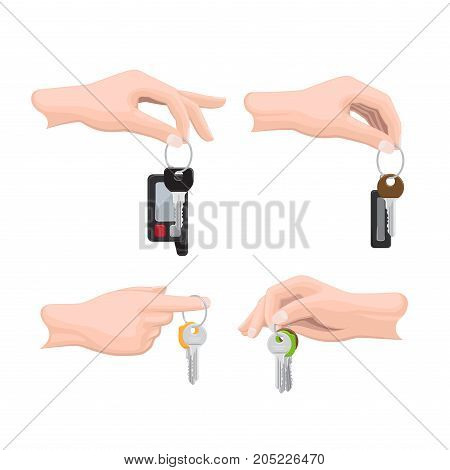 Keys hanging on keyring in human hand flat vector isolated on white background. Man hand holding bunch of modern doors keys on keyring illustration for real estate, buying new apartment concepts
