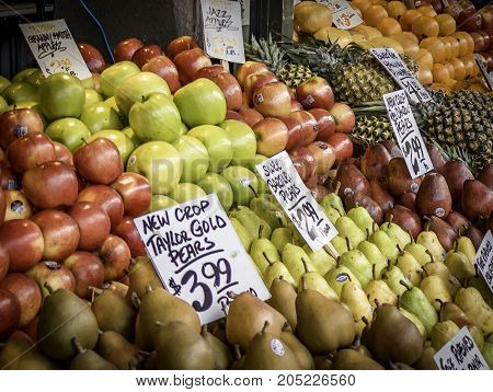 Fruits for sale at public market in Seattle, Washington