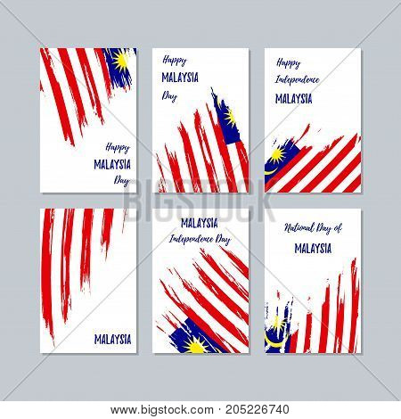 Malaysia Patriotic Cards For National Day. Expressive Brush Stroke In National Flag Colors On White
