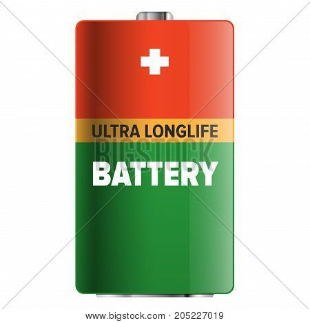 Big ultra longlife battery isolated on white background. Capacious energy container for long term usage of electronic devices. Galvanic appliance to refill power content vector illustration.