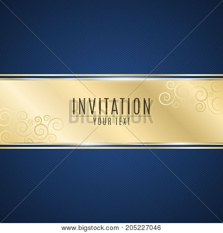 Luxurious invitation. Golden ribbon banner on a blue background with a pattern of oblique lines. Realistic gold strip with an inscription. Gold lace. VIP invitation. Vector illustration