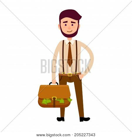 Stylish businessman in trousers with suspenders and with briefcase full of money isolated on white background. Male cartoon character vector illustration. Hipster with beard in trendy clothes.
