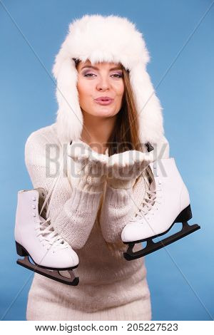 Woman With Ice Skates Kiss Gesture