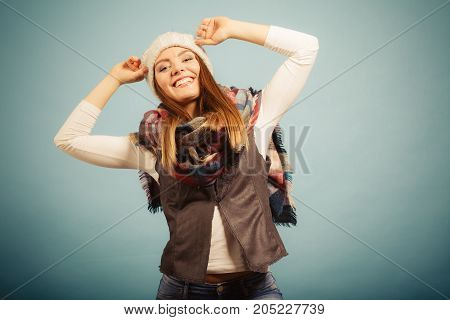 Positive Girl In Autumn Season Clothing