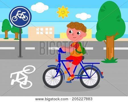 Cartoon child riding a bike on bicycle lane, vector illustration