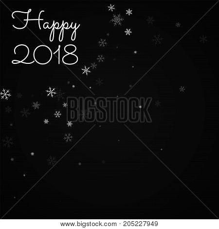 Happy 2018 Greeting Card. Sparse Snowfall Background. Sparse Snowfall On Red Background. Charming Ve