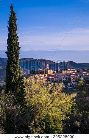 Montescudaio, Tuscany, Italy, Panoramic View On September