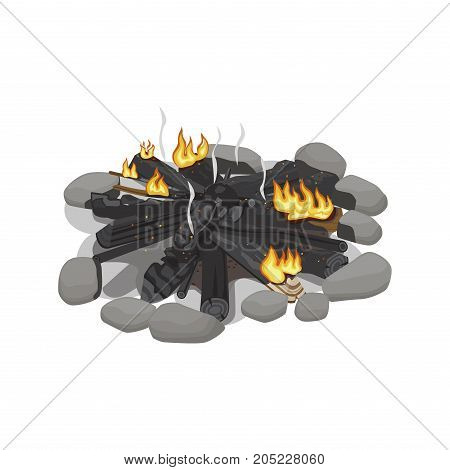 Dark burnt firewood with weak flame on white. Vector illustration of wood pines isolated place with black logs surrounded by stones. Flame made of forest trees for heating. Campfire tourist symbol