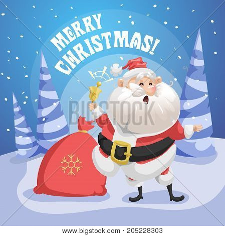 Happy singing song Santa Claus in forest with gift sack and ring bell. Merry Christmas poster. Holiday simple gradient illustration.