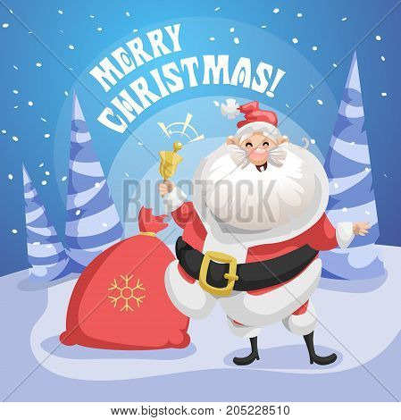 Happy laughing Santa Claus in forest with gift sack and ring bell. Merry Christmas poster. Holiday simple gradient illustration.