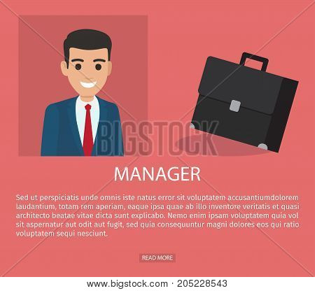 Manager advertisement web page vector illustration. Executive worker in suit vector illustration, resume design of job application form