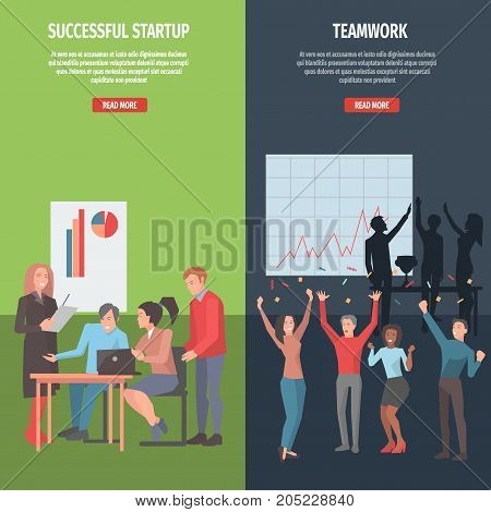 Internet guide in successful startup and well-knit teamwork creation. Cartoon people work on business project and celebrate success vector illustration. Read more about business project development.