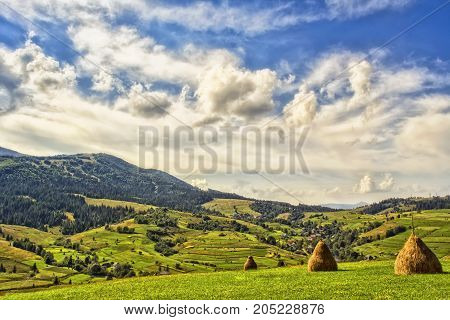 Viewn on the mountains and clouds. Carpathians Podobovets