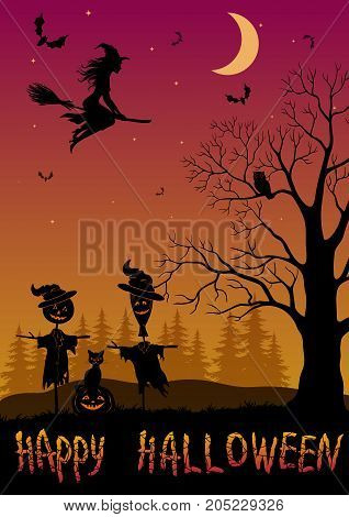 Holiday Halloween Landscape, Black Silhouettes Witch on Broom, Bats and Moon in Sky, Scarecrows, Pumpkin Jack-O-Lantern, Cat, Tree with Owl. Vector