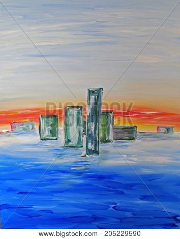 Acrylic Painting on Canvas of Abstract Buildings on the horizon