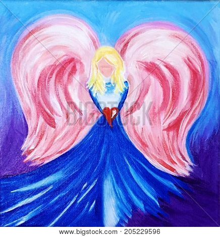 Acrylic Painting on Canvas of Angel holding Red Heart