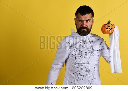 Man With Strict Face Expression On Yellow Background, Copy Space