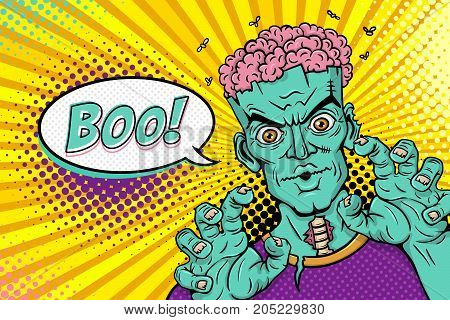 Cartoon hand drawn zombie with brains out rises his hands and Boo! speech bubble. Vector illustration in retro comic style. Colorful pop art background. Halloween party invitation poster.