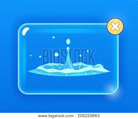 Drops falling into water isolated on blue. Spring characterized by intermittent discharge of water ejected turbulently and accompanied by steam. Splashes of water in round aqua source of liquid vector