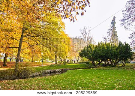 Central park in autumn - center of small west Bohemian spa town Marianske Lazne (Marienbad) - Czech Republic