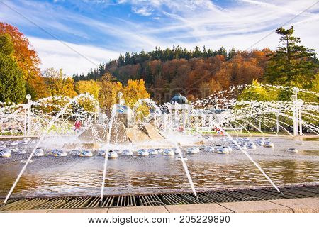 Autumn photo of Singing fountain in the small west Bohemian spa town Marianske Lazne (Marienbad) - Czech Republic