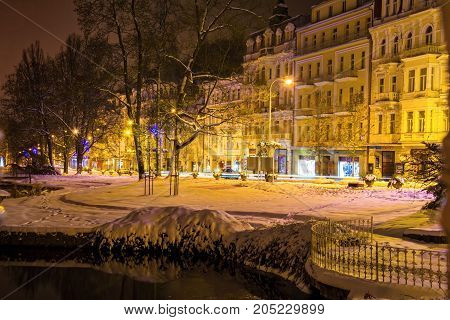 Central park at night - small west bohemian spa town Marianske Lazne (Marienbad) - Czech Republic