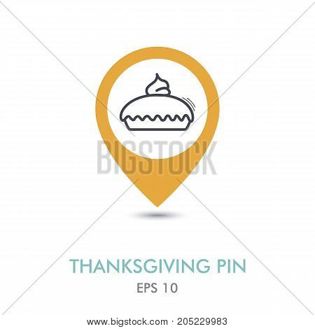 Thanksgiving Pie mapping pin icon. Harvest. Thanksgiving vector illustration eps 10