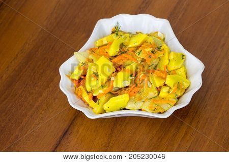 Salad Of Marinated Zucchini With Carrot And Spices