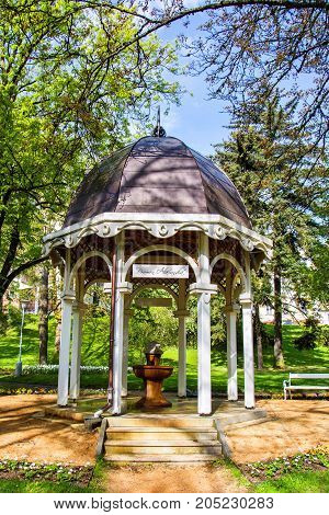 Pavilion of cold mineral water spring Alexandra in the small west Bohemian spa town Marianske Lazne (Marienbad) - Czech Republic