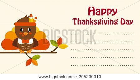 cute turkey on a branch thanksgiving day card