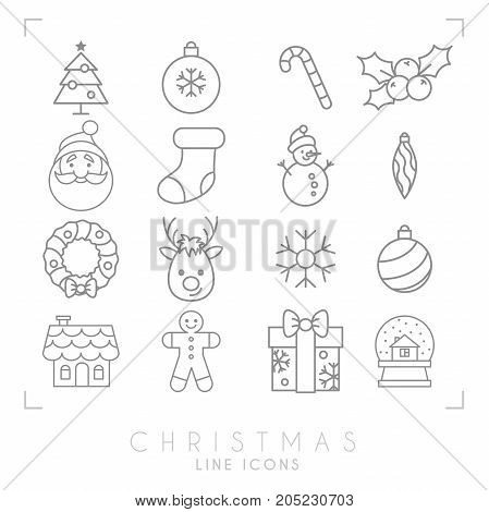 Thin line christmas icons set. Gingerbread house glass snowball Santa Claus avatar gingerbread man deer snowflake snowman holly berry candy tree wreath decoration gift box.